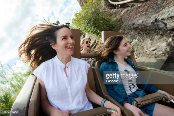 In this handout provided by Disney Parks actress comedian writer and producer Tina Fey braves Expedition Everest roller coaster at Disney's Animal...