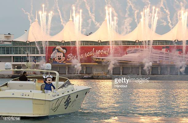 In this handout provided by Disney Parks Captain Mickey Mouse officially kicksoff the countdown for the arrival of the Disney Wonder to Port Miami...