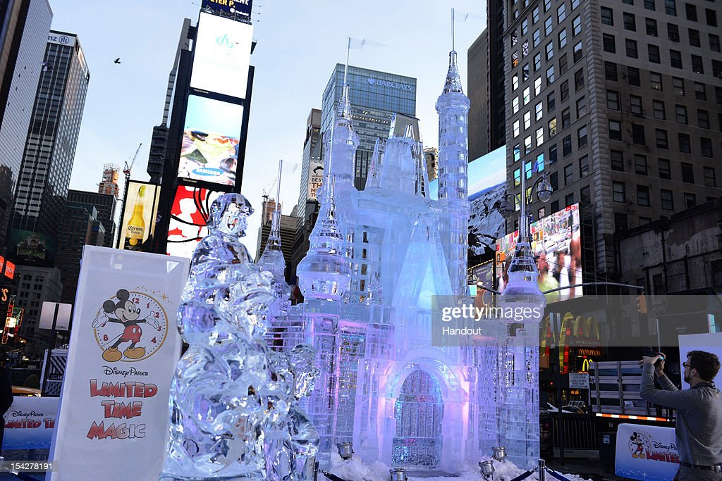 In this handout provided by Disney Parks, Disney Parks unveiled a 25-foot-tall, 45,000-pound castle made of ice as the sun rose over Times Square October 17, 2012 in New York City. The icy structure was unveiled during the Disney Parks announcement of 'Limited Time Magic' that will take place throughout 2013 at Disneyland Resort in California and Walt Disney World Resort in Florida. Next year, each week at the Disney theme parks will be highlighted by a different surprise or guest enhancement for a one-week-only engagement. Each weekly surprise, many never-before-seen in the Disney Parks, will include entertainment, dining, character experiences and more. Each one will disappear after seven days and make way for the next week's Limited Time Magic experience. Combined with the heat of the morning and early-afternoon sun, the ice castle in Times Square -- which took more than 12 hours to construct and craft -- demonstrates the short-lived nature of Disney's Limited Time Magic.