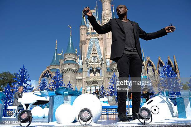 In this handout provided by Disney Parks Seal performs during the taping of the 'Disney Parks Unforgettable Christmas Celebration' TV special in...