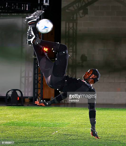 In this handout provided by Electronic Arts Maurice Edu of the MLS Toronto FC does a bicycle kick during a motion capture session for FIFA Soccer 09...