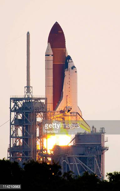 In this handout provided by European Space Agency , NASA space shuttle Endeavour lifts off from Launch Pad 39A at the Kennedy Space Center on May 16,...