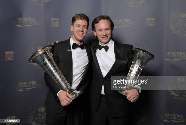 In this handout provided by Federation Internationale de l'Automobile , FIA Formula One World Championship award winners Sebastian Vettel of Germany...