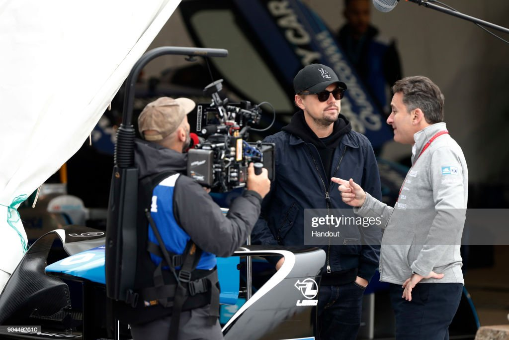 In this handout provided by FIA Formula E - Actor Leonardo di Caprio talks with Alejandro Agag, CEO, Formula E prior to the Marrakech ePrix, Round 3 of the 2017/18 FIA Formula E Series at the Circuit International Automobile Moulay El Hassan on January 13, 2018 in Marrakech, Morocco.