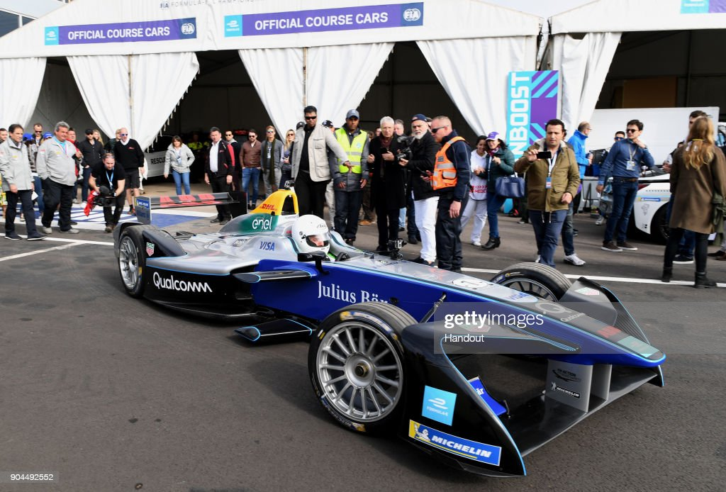 In this handout provided by FIA Formula E - Actor Orlando Bloom in action prior to the Marrakech ePrix, Round 3 of the 2017/18 FIA Formula E Series at the Circuit International Automobile Moulay El Hassan on January 13, 2018 in Marrakech, Morocco.
