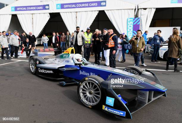 In this handout provided by FIA Formula E Actor Orlando Bloom in action prior to the Marrakech ePrix Round 3 of the 2017/18 FIA Formula E Series at...