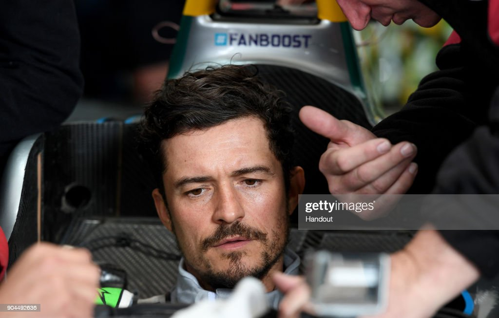 In this handout provided by FIA Formula E - Actor Orlando Bloom prior to the Marrakech ePrix, Round 3 of the 2017/18 FIA Formula E Series at the Circuit International Automobile Moulay El Hassan on January 13, 2018 in Marrakech, Morocco.