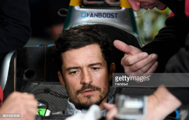 In this handout provided by FIA Formula E Actor Orlando Bloom prior to the Marrakech ePrix Round 3 of the 2017/18 FIA Formula E Series at the Circuit...