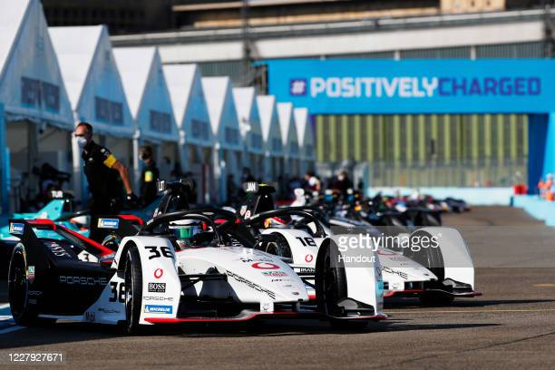 In this handout provided by FIA Formula E, Andre Lotterer , Tag Heuer Porsche, Porsche 99x Electric, and Neel Jani , Tag Heuer Porsche, Porsche 99x...