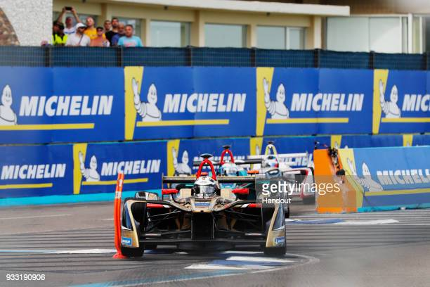 In this handout provided by FIA Formula E Andre Lotterer TECHEETAH Renault ZE 17 during the Punta del Este ePrix Round 6 of the 2017/18 FIA Formula E...