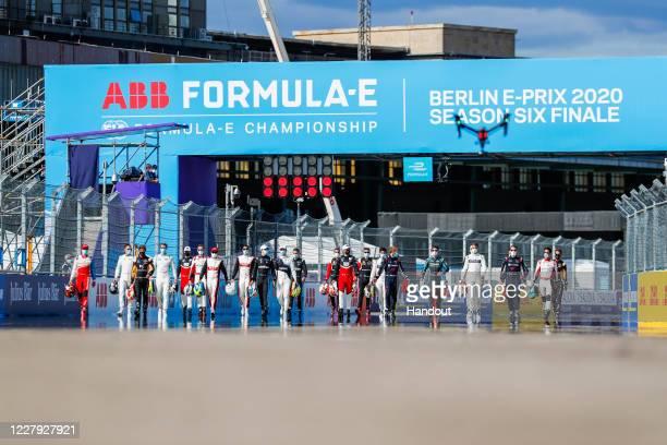 In this handout provided by FIA Formula E, Antonio Felix da Costa , DS Techeetah, Felipe Massa , Venturi, Nyck De Vries , Mercedes Benz EQ, Neel Jani...