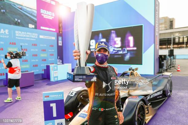 In this handout provided by FIA Formula E Antonio Félix da Costa DS Techeetah takes 1st position on August 5 2020 in Berlin Germany