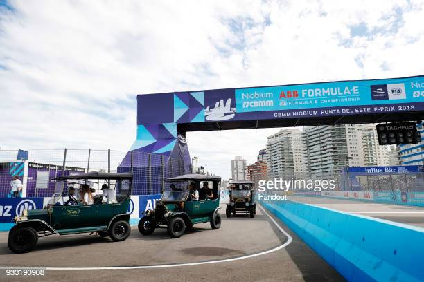 In this handout provided by FIA Formula E Charge drivers parae during the Punta del Este ePrix Round 6 of the 2017/18 FIA Formula E Series on March...