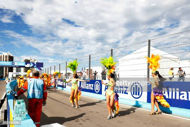 In this handout provided by FIA Formula E Dancers perform in the pre race build up during the Punta del Este ePrix Round 6 of the 2017/18 FIA Formula...