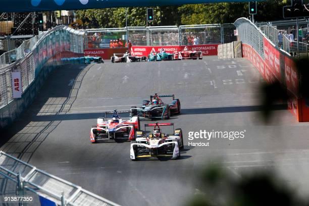 In this handout provided by FIA Formula E - Daniel Abt , Audi Sport ABT Schaeffler, Audi e-tron FE04 leads Nick Heidfeld , Mahindra Racing, Mahindra...