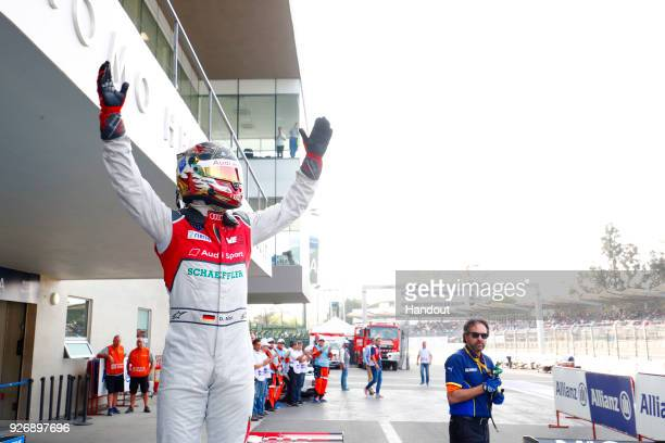 In this handout provided by FIA Formula E Daniel Abt Audi Sport ABT Schaeffler Audi etron FE04 celebrates after winning the race during the Mexico...