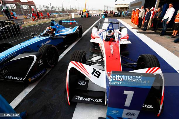 In this handout provided by FIA Formula E Felix Rosenqvist Mahindra Racing Mahindra M4Electro celebrates after winning the race as he returns to parc...