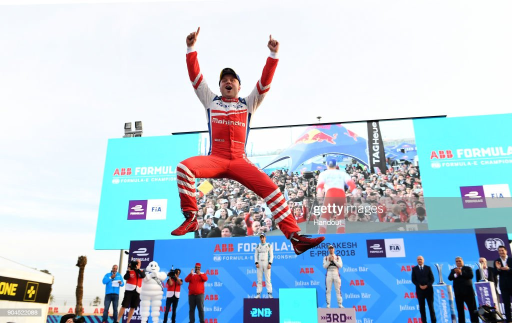 In this handout provided by FIA Formula E - Felix Rosenqvist (SWE), Mahindra Racing, Mahindra M4Electro, celebrates on the podium after winning the race during the Marrakech ePrix, Round 3 of the 2017/18 FIA Formula E Series at the Circuit International Automobile Moulay El Hassan on January 13, 2018 in Marrakech, Morocco.