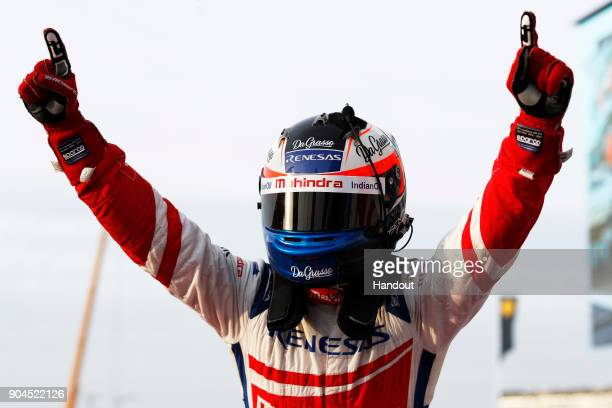 In this handout provided by FIA Formula E Felix Rosenqvist Mahindra Racing Mahindra M4Electro celebrates after winning the race during the Marrakech...
