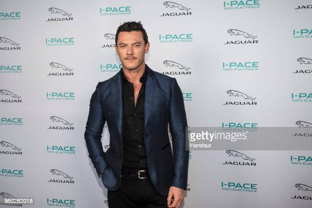 In this handout provided by FIA Formula E Jaguar iPace Launch with actor Luke Evans during the Paris EPrix in the Paris ePrix Round 8 of the 2017/18...