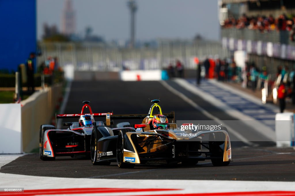 In this handout provided by FIA Formula E - Jean Eric Vergne (FRA), TECHEETAH, Renault ZE 17, and Maro Engel (GER), Venturi Formula E, Venturi VM200-FE-03 in action during the Marrakech ePrix, Round 3 of the 2017/18 FIA Formula E Series at the Circuit International Automobile Moulay El Hassan on January 13, 2018 in Marrakech, Morocco.