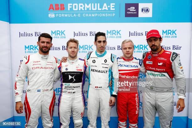 In this handout provided by FIA Formula E Jose Maria Lopez Dragon Penske EV2 Sam Bird DS Virgin Racing DS Virgin DSV03 Sebastien Buemi Renault eDams...