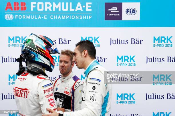 In this handout provided by FIA Formula E Jose Maria Lopez Dragon Penske EV2 Sam Bird DS Virgin Racing DS Virgin DSV03 and Sebastien Buemi Renault...
