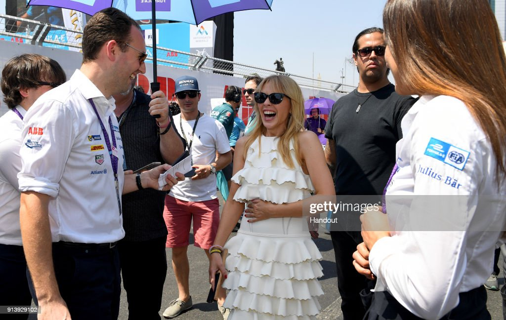 In this handout provided by FIA Formula E - Kylie Minogue on the grid during the Santiago ePrix, Round 4 of the 2017/18 FIA Formula E Series on February 3, 2018 in Santiago, Chile.