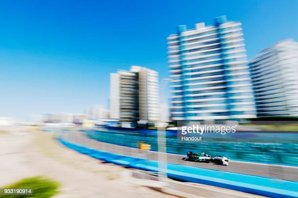 In this handout provided by FIA Formula E Lucas Di Grassi Audi Sport ABT Schaeffler Audi etron FE04 during the Punta del Este ePrix Round 6 of the...