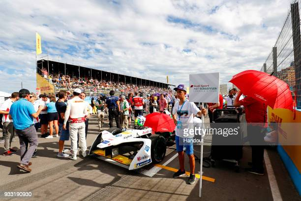 In this handout provided by FIA Formula E Lucas Di Grassi Audi Sport ABT Schaeffler Audi etron FE04 grid kid during the Punta del Este ePrix Round 6...