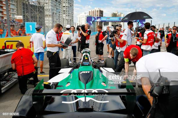 In this handout provided by FIA Formula E Lucas Di Grassi Audi Sport ABT Schaeffler Audi etron FE04 on the grid during the Punta del Este ePrix Round...
