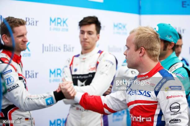In this handout provided by FIA Formula E Maro Engel Venturi Formula E Venturi VM200FE03 Alex Lynn DS Virgin Racing DS Virgin DSV03 and Felix...