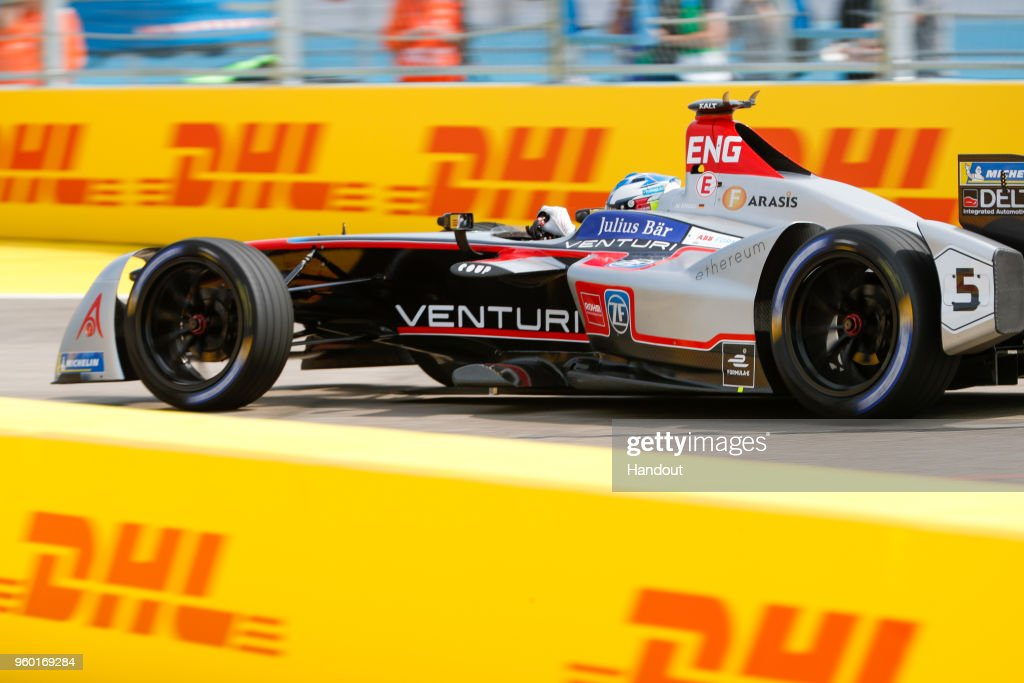 In this handout provided by FIA Formula E, Maro Engel (GER), Venturi Formula E, Venturi VM200-FE-03. during the Berlin E-Prix in the Paris ePrix, Round 9 of the 2017/18 FIA ABB Formula E Series at at Tempelhof Airport on May 19, 2018 in Berlin, Germany.