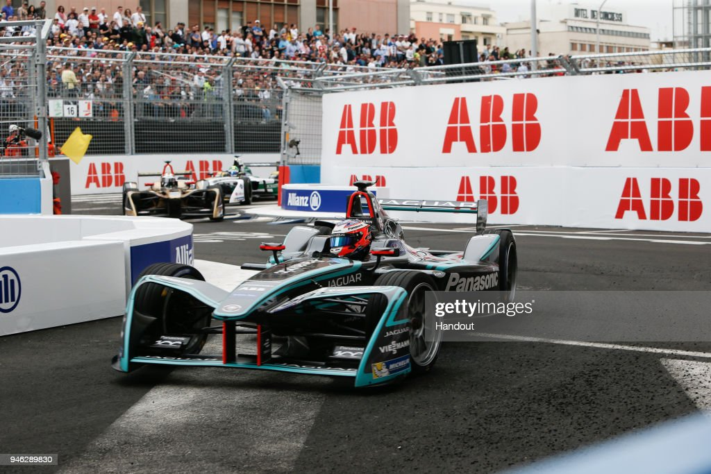 In this handout provided by FIA Formula E, Mitch Evans (NZL), Panasonic Jaguar Racing, Jaguar I-Type II. during the Rome ePrix, Round 7 of the 2017/18 FIA Formula E Series at Circuito Cittadino Dell'EUR on April 14, 2018 in Rome, Italy.