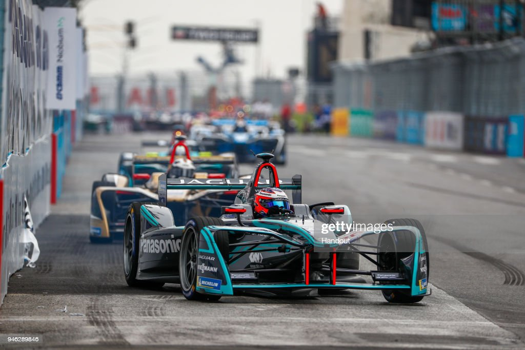 In this handout provided by FIA Formula E, Mitch Evans (NZL), Panasonic Jaguar Racing, Jaguar I-Type II, leads Andre Lotterer (BEL), TECHEETAH, Renault Z.E. 17. during the Rome ePrix, Round 7 of the 2017/18 FIA Formula E Series at Circuito Cittadino Dell'EUR on April 14, 2018 in Rome, Italy.