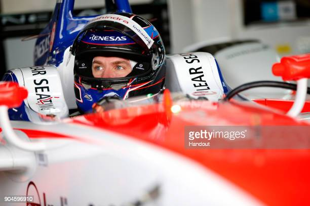 In this handout provided by FIA Formula E Nick Heidfeld Mahindra Racing Mahindra M4Electro during the Marrakech ePrix Round 3 of the 2017/18 FIA...