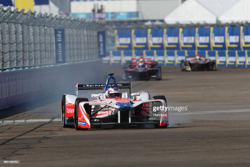 In this handout provided by FIA Formula E, Nick Heidfeld (GER), Mahindra Racing, Mahindra M4Electro. during the Berlin E-Prix in the Paris ePrix, Round 9 of the 2017/18 FIA ABB Formula E Series at at Tempelhof Airport on May 19, 2018 in Berlin, Germany.