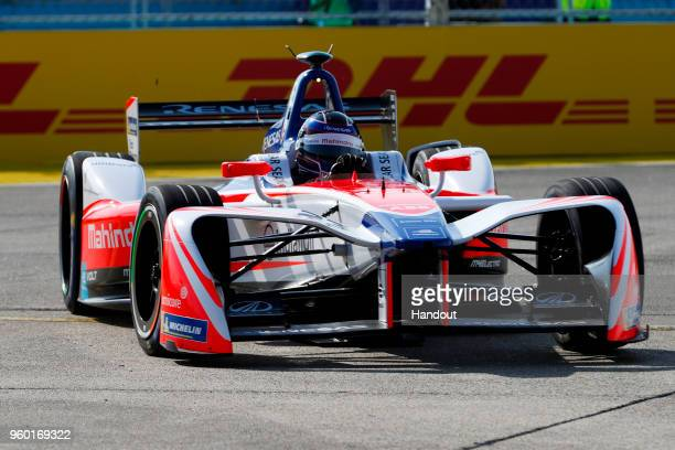 In this handout provided by FIA Formula E, Nick Heidfeld , Mahindra Racing, Mahindra M4Electro. During the Berlin E-Prix in the Paris ePrix, Round 9...