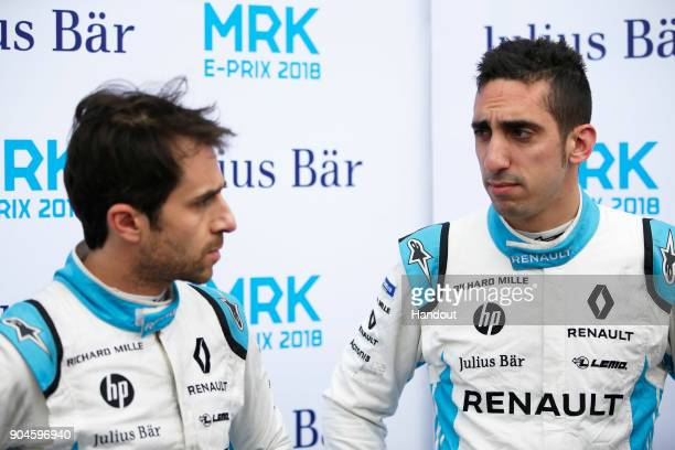 In this handout provided by FIA Formula E Nicolas Prost Renault eDams Renault ZE 17 and Sebastien Buemi Renault eDams Renault ZE 17 during the...