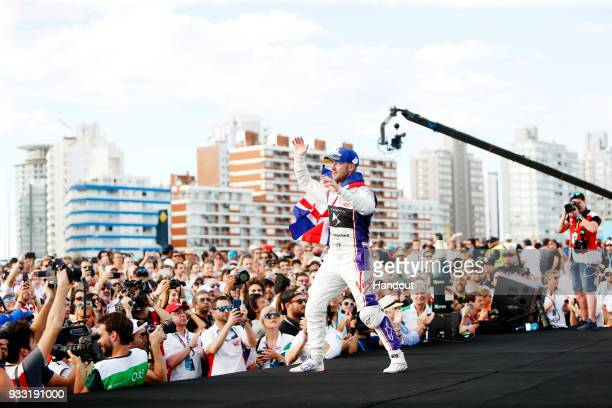 In this handout provided by FIA Formula E Sam Bird DS Virgin Racing DS Virgin DSV03 celebrates on the podium during the Punta del Este ePrix Round 6...