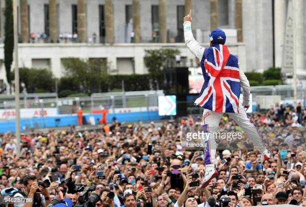 In this handout provided by FIA Formula E Sam Bird DS Virgin Racing DS Virgin DSV03 wins the Rome ePrix during the Rome ePrix Round 7 of the 2017/18...