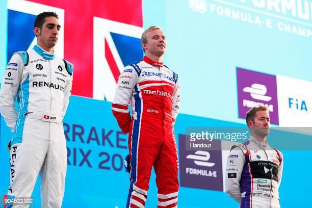 In this handout provided by FIA Formula E Sebastien Buemi Renault eDams Renault ZE 17 Felix Rosenqvist Mahindra Racing Mahindra M4Electro and Sam...