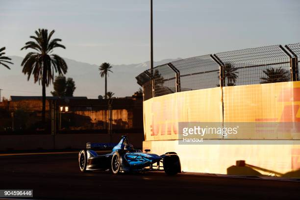In this handout provided by FIA Formula E Sebastien Buemi Renault eDams Renault ZE 17 in action during the Marrakech ePrix Round 3 of the 2017/18 FIA...