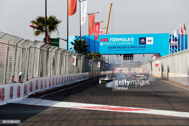 In this handout provided by FIA Formula E Sebastien Buemi Renault eDams Renault ZE 17 and at the start of the race in action during the Marrakech...