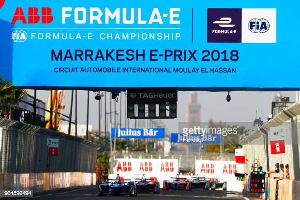 In this handout provided by FIA Formula E Sebastien Buemi Renault eDams Renault ZE 17 and the race in action during the Marrakech ePrix Round 3 of...