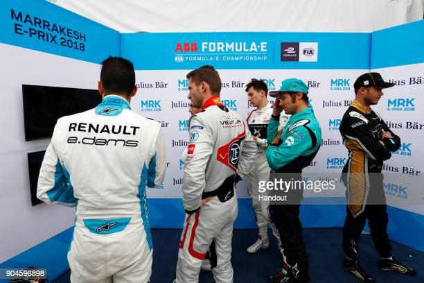 In this handout provided by FIA Formula E Sebastien Buemi Renault eDams Renault ZE 17 Maro Engel Venturi Formula E Venturi VM200FE03 Alex Lynn DS...