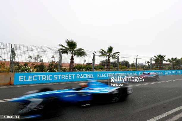 In this handout provided by FIA Formula E Sebastien Buemi Renault eDams Renault ZE 17 and Sam Bird DS Virgin Racing DS Virgin DSV03 in action during...