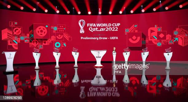 In this handout provided by FIFA A general view of the stage prior to the Preliminary Draw of the 2022 Qatar FIFA World Cup on December 07, 2020 in...