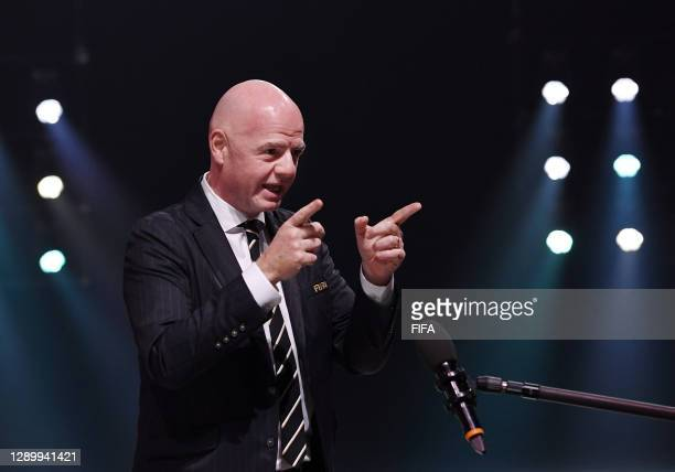 In this handout provided by FIFA , FIFA President Gianni Infantino speaks during the Preliminary Draw of the 2022 Qatar FIFA World Cup on December...