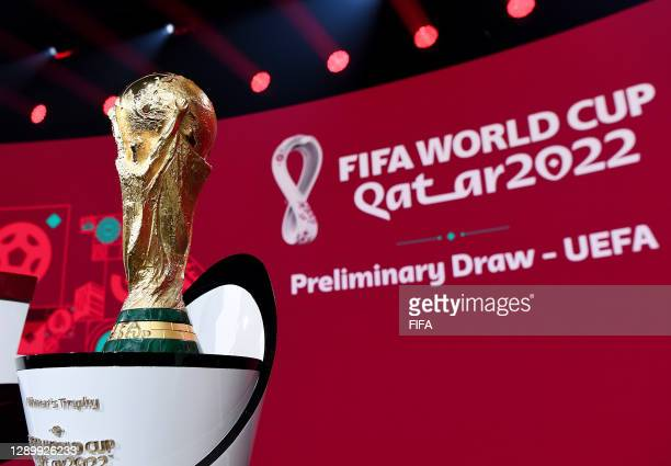 In this handout provided by FIFA The World Cup Trophy is seen prior to the Preliminary Draw of the 2022 Qatar FIFA World Cup on December 07, 2020 in...